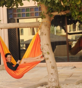 Layover in Bahrain? There's always a place to catch a nap in your hammock. #traveltuesday #inacolorcloud #Bahrain #travelislife #travelhammock #hammocklife #hammocking