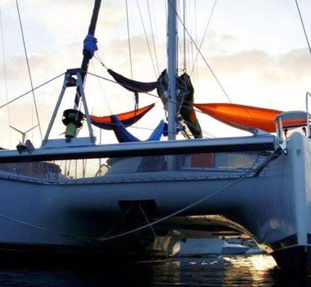 Have catamaran will hammock inacorcloud hammocklife atsea onthebow goatoutside adventureisoutthere